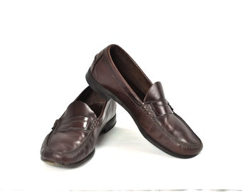 Vintage Mens Shoes Burgundy Leather Penny Loafers Dexter Mens Size 13 Euro 47 Slip On Preppy