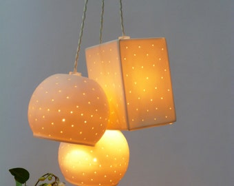 Three bells, Perforated Porcelain, Pendant lights