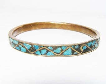 Vintage Brass Bangle Bracelet Made in India with Turquoise Color Inlay Design - CLOSING Sale