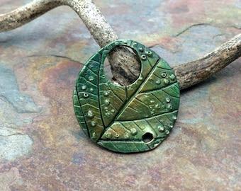 Artisan Copper PMC Leaf Toggle Clasp Pendant