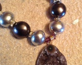 Drusy pendant and shell pearl necklace