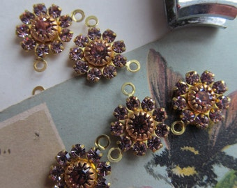 Vintage Swarovski Light Amethyst  Flower Finding With Hoop