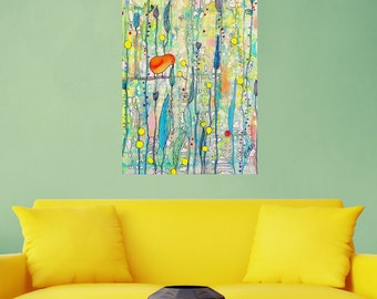 Abstract Bird on a Branch Art Wall Sticker Decal – Grow Up by Sylvie Demers