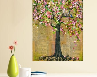 Mixed Media Nature Art Wall Sticker Decal - Lexicon Tree of Life by Blenda Tyvoll