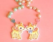 Deer Necklace, Cute, Kawaii, Love, Pixel, Heart, Romance, Pink, Blue