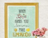 When Life Hands you Lemons, Make Lemonade, Wall Art Kitchen Bathroom Bedroom, Gift to Encourage, Hand-Drawn Art, Yellow, Aqua, LilyCole