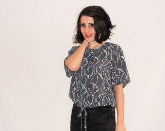 Vintage Navy & White Printed Blouse