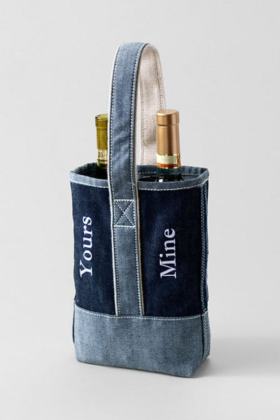 monogrammed personalized 2 bottle wine tote by 3sistersembroidery