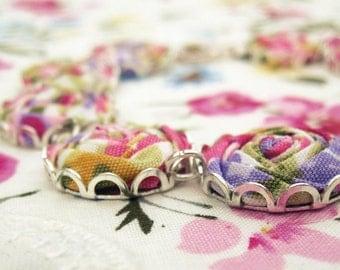 Fabric Flower Bracelet - Cerise Pink, Lilac,Green & Gold Textile Roses