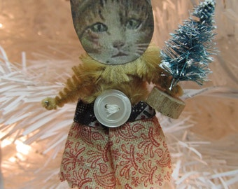 Dressed Up TABBY CAT Vintage Style Chenille Christmas Ornaments ~ Pair of 2 ~ Old World Charm & Nostalgia!