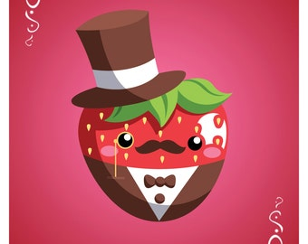 "Cutie Tuxedo Strawberry Art Print (8 1/2"" x 11"")"