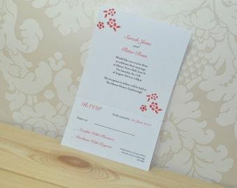 FlowerWedding Invitation and RSVP Sample