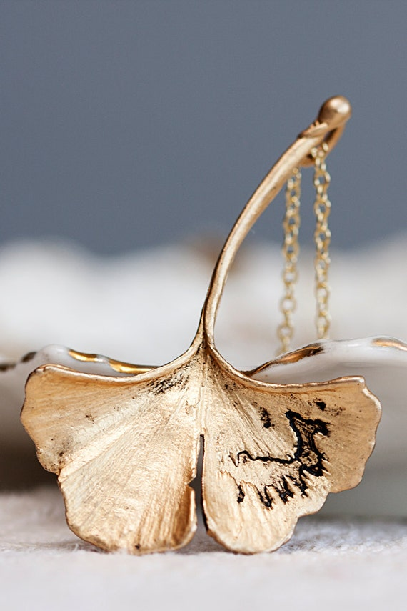 Ginkgo Leaf Necklace Mothers Day Gift Antiqued Matte Gold Plated Autumn Leaf - N128