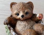 Adorable Bear with Apple Figurine by Homco, Masterpiece Porcelain