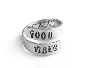 Handstamped jewelry, heart ring, silver adjustable, boho jewelry, good vibes,gift for her, aluminum wrap, good vibes ring, handmade jewelry