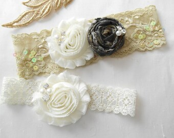 Camo Wedding Garter Set Mossy Oak Rose Beaded Stretch Lace Bridal Garter Shabby Chiffon Rosette Pearls and  Rhinestones/Mossy Oak/RealTree