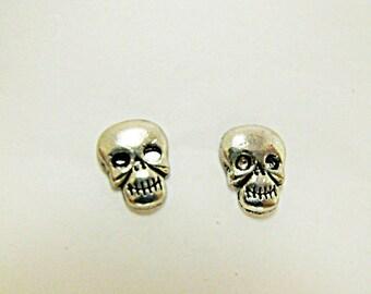 Stud Earrings,  Small Silver Gothic Skull Post or Stud Earrings Mens Womens Gift  Handmade