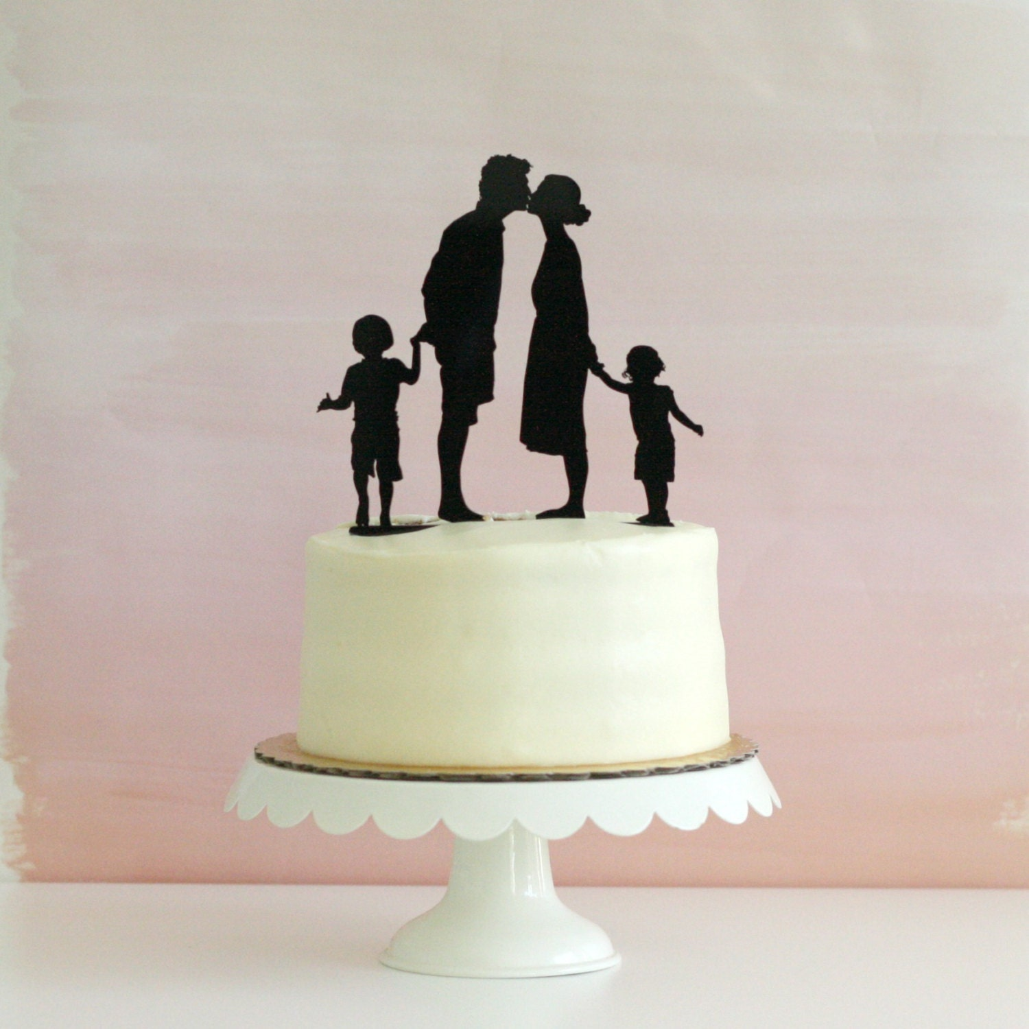 Custom Family Silhouette Wedding Cake Topper Personalized