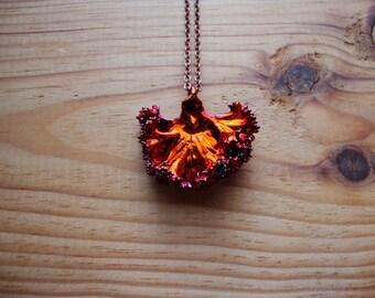 MADE TO ORDER genuine electroplated copper kale leaf necklace