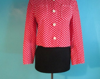 Bright Cherry Red Polka Dot Late 60's Spring Jacket