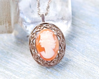Sterling Silver Cameo Necklace - Classic Orange and dark silver Pendant on chain