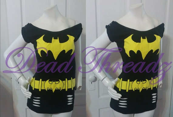 Women's off shoulder top made from Batman Batgirl regular tee shirt SIZE S