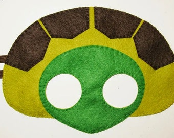 Turtle felt mask - brown olive green - childrens animal costume - handmade gift for boys girls - dress up play accessory - Theatre roleplay