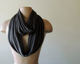 DARKEST BROWN Infinity Scarf - Dark Chocolate Brown Loop Scarf, Ultra Soft Jersey - Circle Scarf