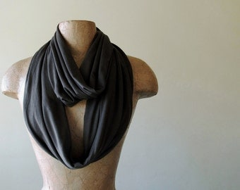 DARKEST BROWN Infinity Scarf - Dark Chocolate Brown Loop Scarf, Ultra Soft Jersey Circle Scarf