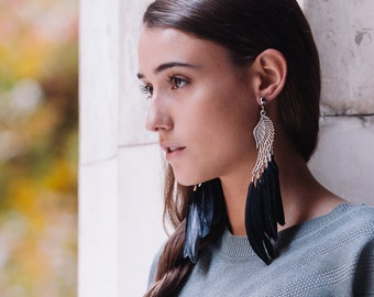 Icarus long feather earrings