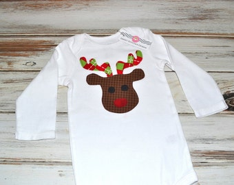Baby Christmas Reindeer Onesie Baby Reindeer Holiday Onesie Long sleeve or Short sleeve