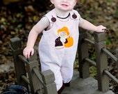 Halloween Pumpkin Patch Scarecrow Orange Seersucker Longalls-Personalization NOT included