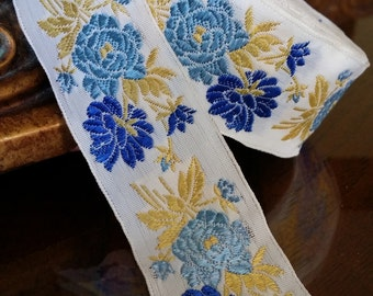 """1.375"""" Vintage France White Woven Ribbon Trim Jacquard embroidered Blue floral gold yellow leaves Slavic Czech Folkloric costume #393-04A vr"""