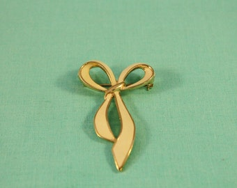 Long Golden Bow With Ivory Enamel Pin / Brooch