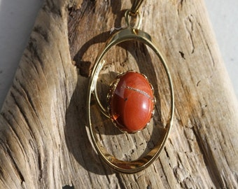 Oval Orbit Pendant with 13x18 Red Japser - Item 822