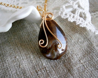 Agate necklace Pendant , Wire Wrapped Jewelry,Stone pendant, Gold Brown Pendant