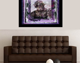 Abstract limited edition art print from a  mixed media digital collage. A modern steampunk portrait by Richard Arfsten, Trapped in Time