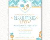 Robot Baby Shower Invitations (Blue and Orange) – Printable