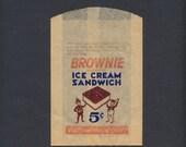 Vintage 1940's Brownie Ice Cream Sandwich Bag - Nabisco Ice Cream Treat Wrapper