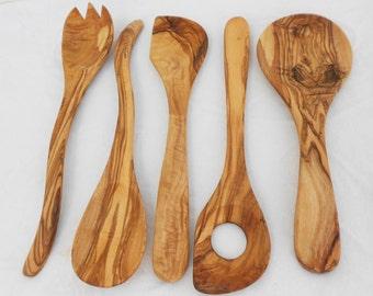 Wooden Kitchen Utensil Set, Olive Wood Cooking Utensils Set, Mom Gift, Wedding gift