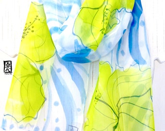 Silk Scarf Handpainted, Blue, Chartreuse Green Hawaiian Print, The Shore Break Hibiscus Scarf, Silk Chiffon, 10x59 inches. Made to order.
