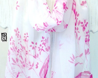 Silk Summer Scarf, Pink Wildflowers Scarf, Silk Chiffon Scarf, White Silk Scarf Handpainted, 10x59 inch. Made to order.