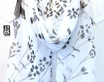 Large Silk Scarf Handpainted, Black and White Scarf, Chiffon, Japanese Wildflowers Scarf, Silk Scarves Takuyo, 14x72 inches, Made to order