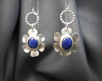 Sterling Silver Flower Earrings with Blue Star Sapphire Stone Cabochons