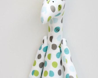 Stuffed giraffe plush softie cute polka dots white teal gray giraffe toy for little children for girl boy birthday gift baby shower