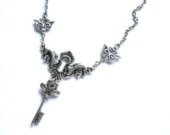 Silver keyhole necklace jewelry, key charm necklace, tattoo bird jewelry vintage style sparrow birds