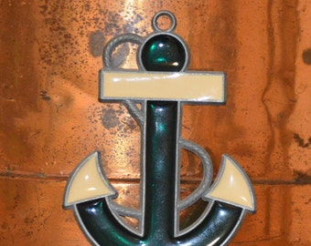 Anchor Sun Catcher Christmas Ornament Gren and White