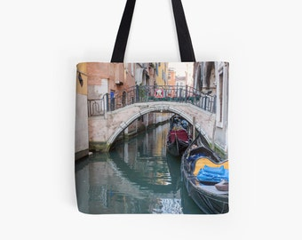 Venice Canal Tote Bag, Book Bag, Market Bag, Canvas Tote, Reusable Shopping Bag, Book Bag, Italy Tote Bag, 18x18 Tote Bag, Gift for Her