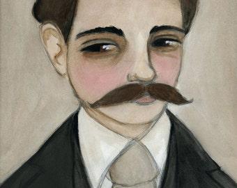 Jasper - Victorian Gentleman Apothecary Watercolor Portrait Illustration (6x8) Art Print