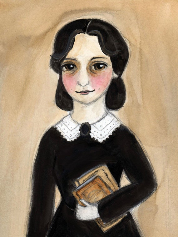 Anne - Victorian Goth Girl Book Lover illustration Portrait (6 x 8) Art Print